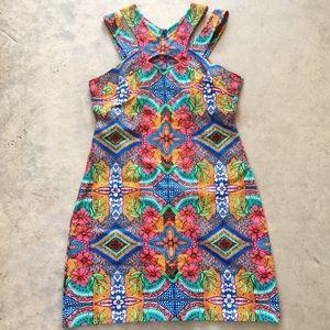 Taylor Kaleidoscope Floral keyhole cutout dress 8